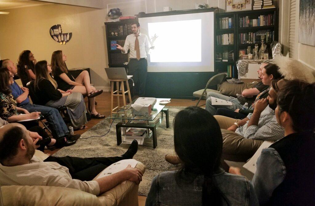 Rabbi Moshe giving class